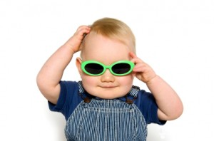 Blond baby boy with sunglasses