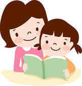 Image result for picture of child reading with parent clip art